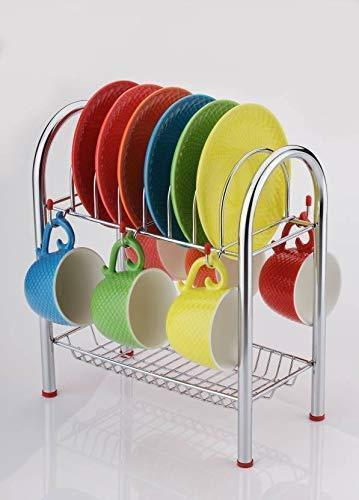 0746_Stainless Steel 2 Layer Plate & Bowl Stand Kitchen Utensil Rack/Cutlery Stand - DeoDap