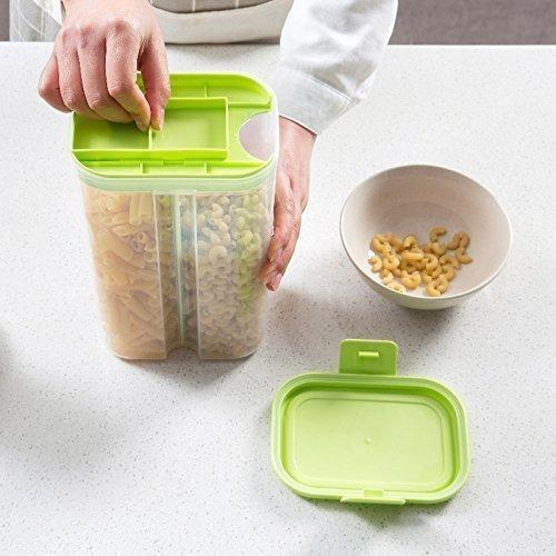 2146 Plastic 2 Sections Air Tight Transparent Food Grain Cereal Storage Container (2 ltr) (With Box) - DeoDap