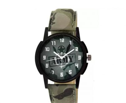 1805 Unique & Premium Analogue Watch Army Print Multicolour Dial Leather Strap (Watch 5) - DeoDap
