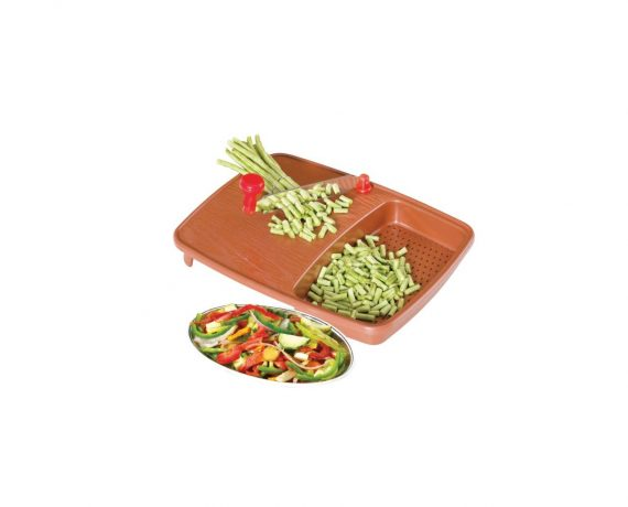 2103 Thick Plastic Kitchen Chopping Cutting Slicing Tray with Holder - DeoDap