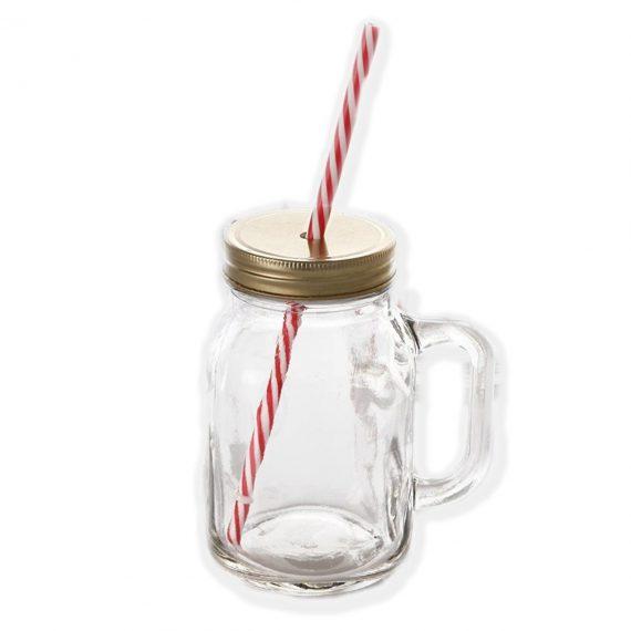 0760 Drinking Cup/Glass/Mug Mason Jar with Handle & Straw - DeoDap