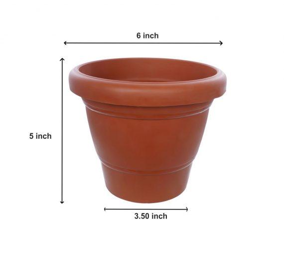 0839 Garden Heavy Plastic Planter Pot/Gamla 6 inch (Brown, Pack of 1, Small) - DeoDap