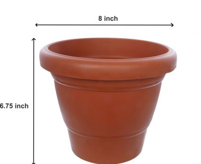 0838 Garden Heavy Plastic Planter Pot/Gamla 8 inch (Brown, Pack of 1,Medium ) - DeoDap