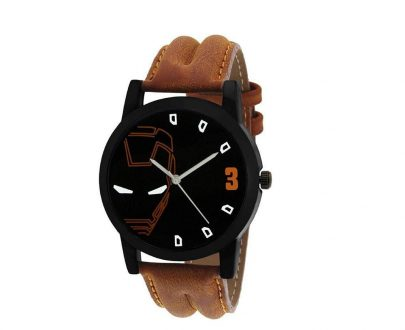 1814 Unique & Premium Analogue Watch Ironman Print Multicolour Dial Leather Strap (Watch 14) - DeoDap