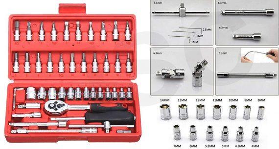0422 Socket 1/4 Inch Combination Repair Tool Kit (Red, 46 pcs) - DeoDap