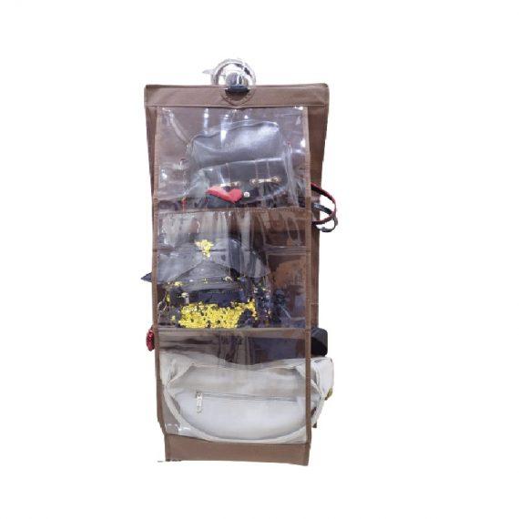 6 Pocket Foldable Hanging Organiser Heavy Quality (Dark Brown)