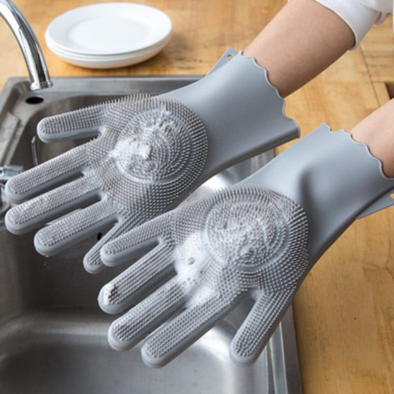 Silicone Scrubbing Hand Gloves for Dish Washing (Grey)