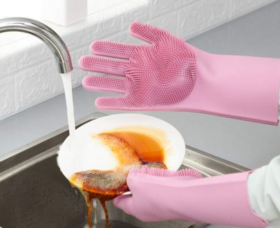Silicone Scrubbing Hand Gloves for Dish Washing (Pink)