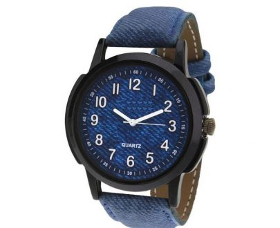 1801 Unique & Premium Analogue Watch Denim Blue Print Dial Leather Strap (Watch1) - DeoDap