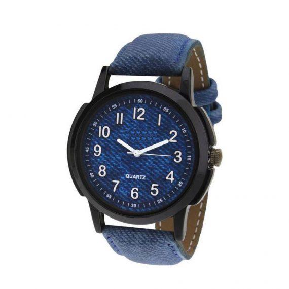1801 Unique & Premium Analogue Watch Denim Blue Print Dial Leather Strap (Watch1) - DeoDap