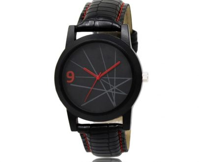 1813 Unique & Premium Analogue Watch Lines with black Dial Leather Strap (Watch 13) - DeoDap