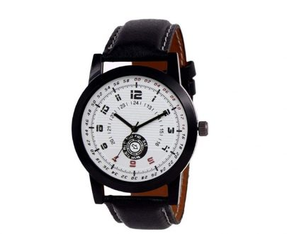 1808 Unique & Premium Analogue Watch White Print Multi colour Dial Leather Strap (Watch 8) - DeoDap