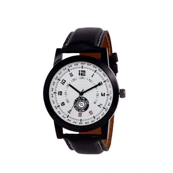 1808 Unique & Premium Analogue Watch White Print Multi colour Dial Leather Strap (Watch 8) - DeoDap