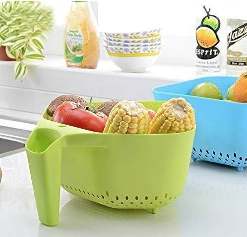 2097 Vegetables and Rice Plastic Washing Bowl with Handle - DeoDap